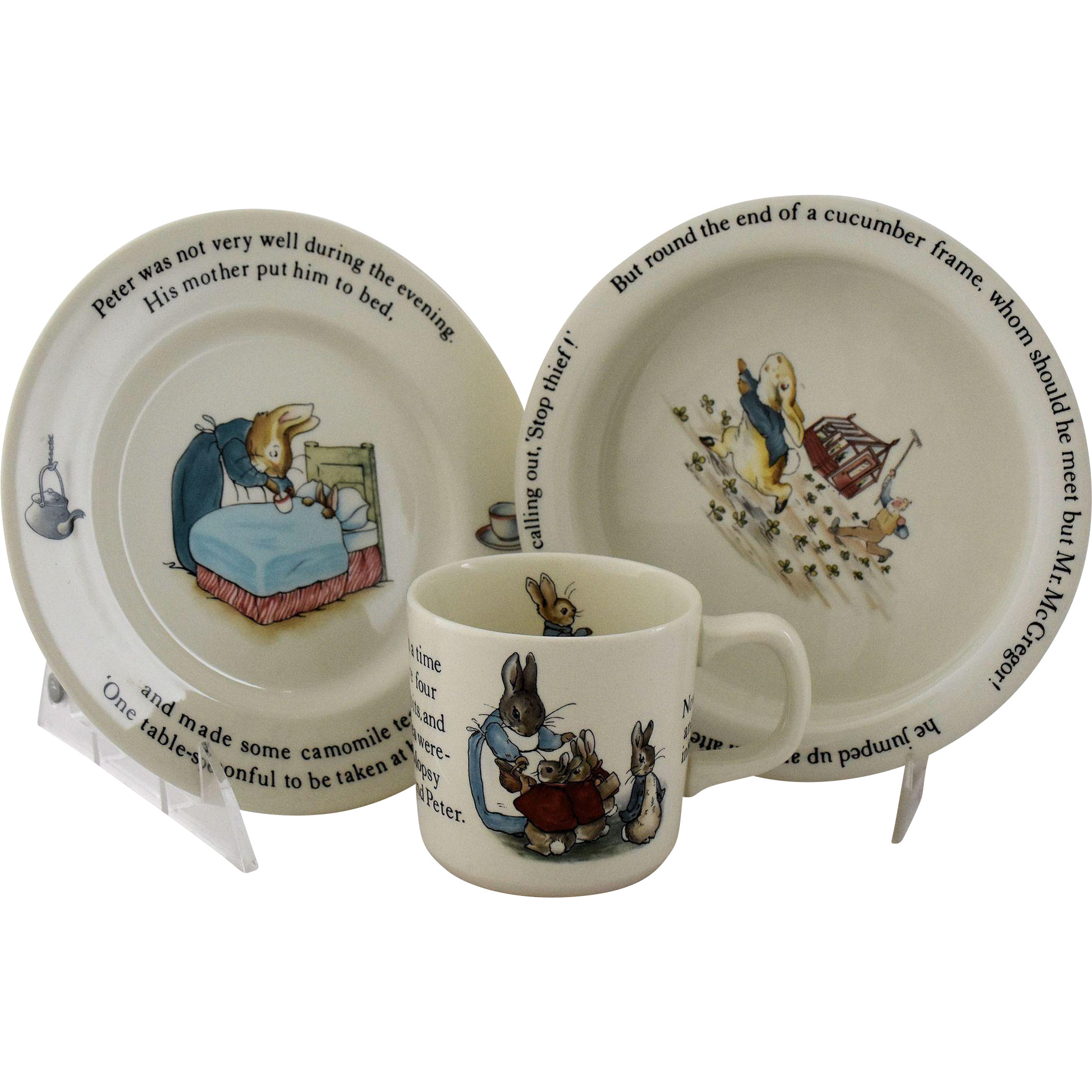 Vintage Beatrix Potter Peter Rabbit Nursery Set by Wedgwood from @antikavenue on @rubylane #wedgwood #PeterRabbit #beatrixpotter  sc 1 st  Pinterest & Vintage Beatrix Potter Peter Rabbit Nursery Set by Wedgwood Made in ...