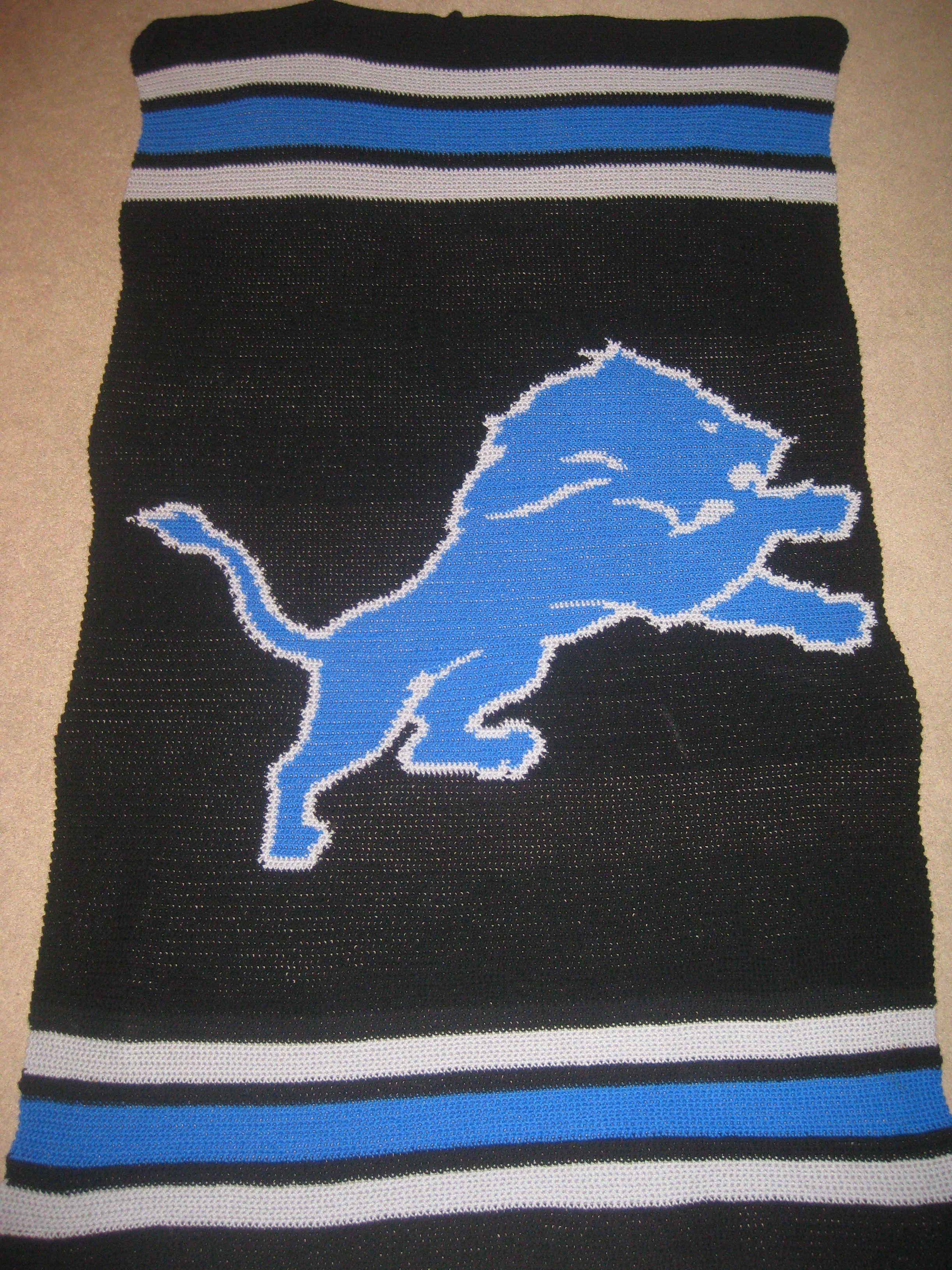 Detroit Lions afghan for Steve   Crocheting   Pinterest