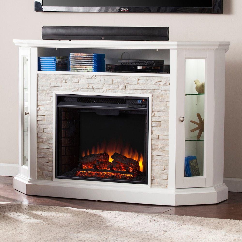 Corner Electric Fireplace Tv Stand Stone