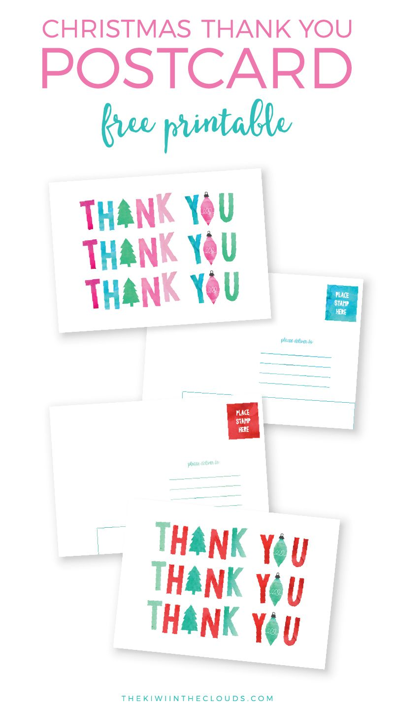 Christmas Thank You Cards Free Printable Send Some Hy Mail And Teach Your Kiddos Manners By Mailing These Cute Post