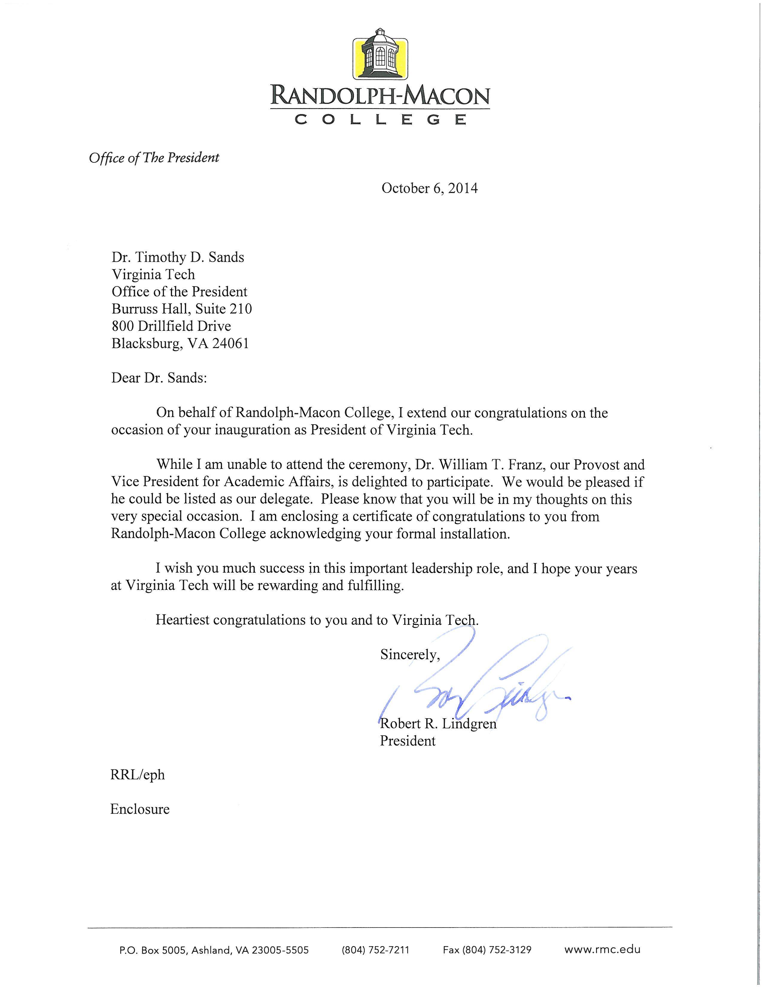 Letter from Randolph Macon College President Robert R Lindgren