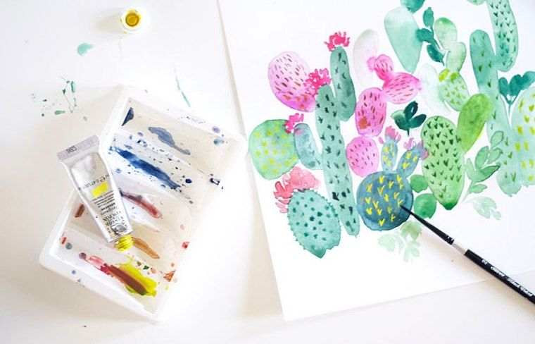 Cactus Painting Tutorial In Watercolor Cactus Painting
