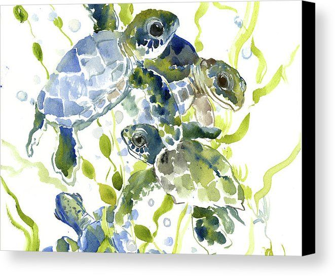 Baby Sea Turtles In The Sea Canvas Print Canvas Art By Suren