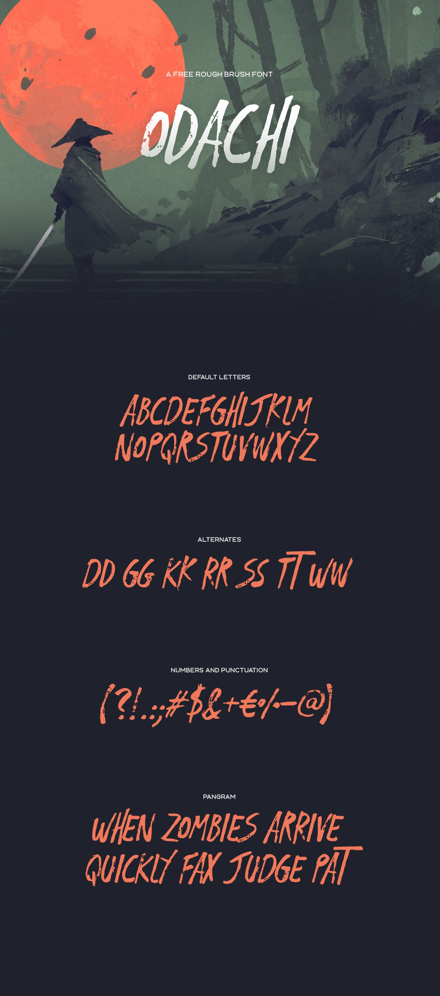 A free brush font with alternate letters, punctuation, numbers and multilingual support.