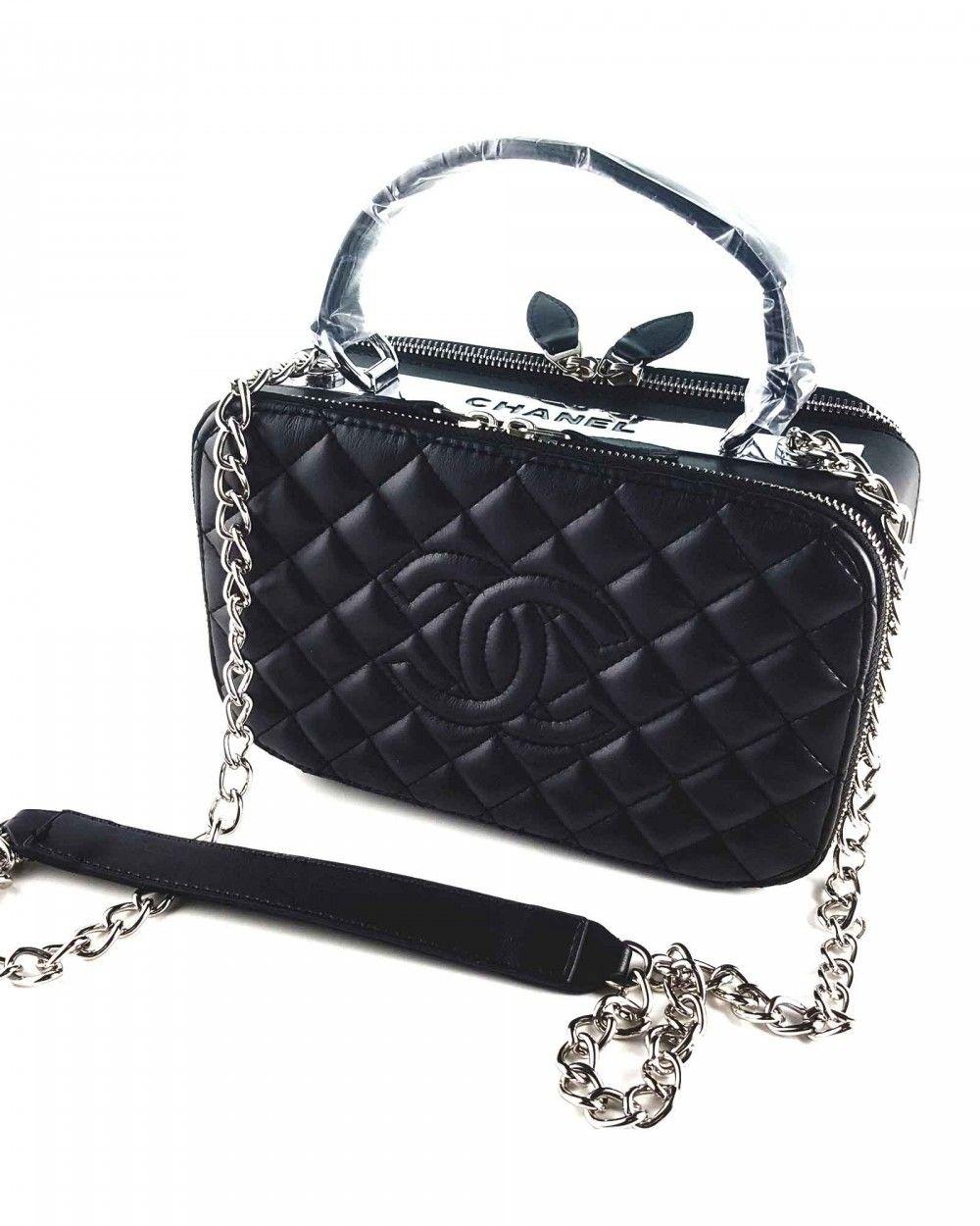 Chanel Baklava Desen Kutu Zincir Aski Canta Siyah Chanel Canta Capraz Canta