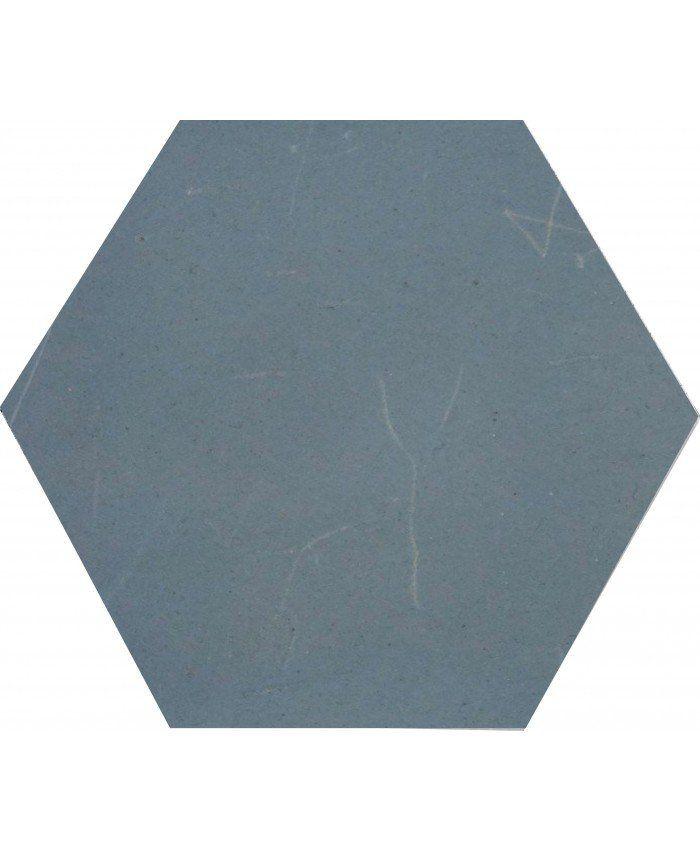 These strong bold hexagonal Gris Bleu single coloured tiles, are ...