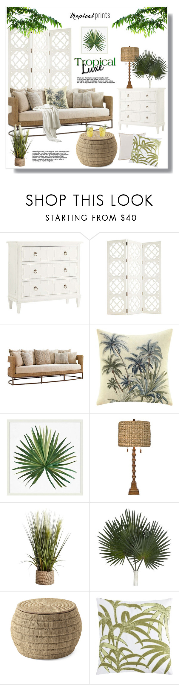 """""""Tropical prints"""" by jelenamaks ❤ liked on Polyvore featuring interior, interiors, interior design, home, home decor, interior decorating, Frontgate, Tommy Bahama, Pottery Barn and Pier 1 Imports"""