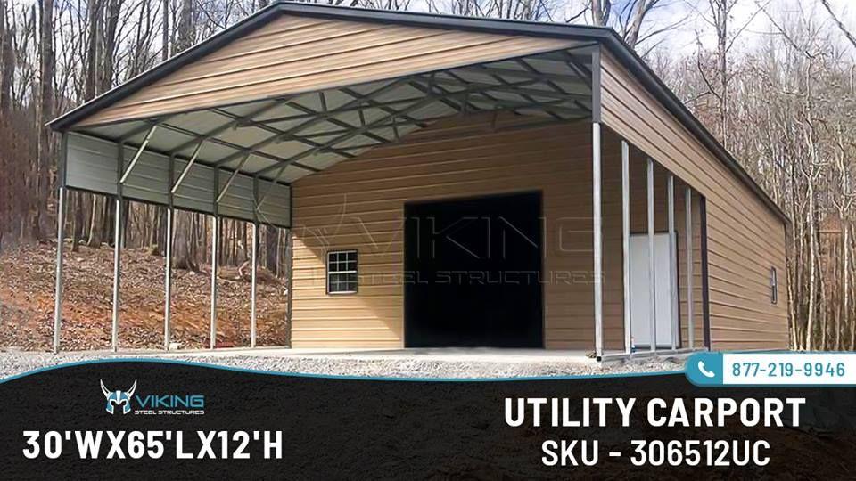 30' W x 65' L x 12' H Utility Carport Carport, Metal