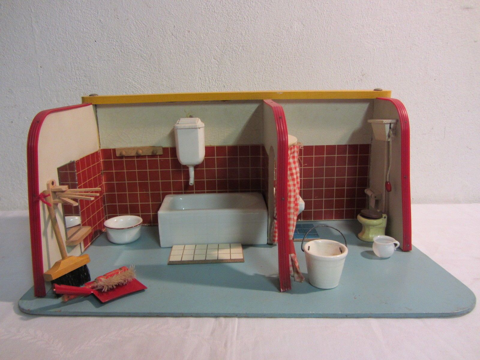 German DDR dollhouse bathroom Signed Wooden toys Factory