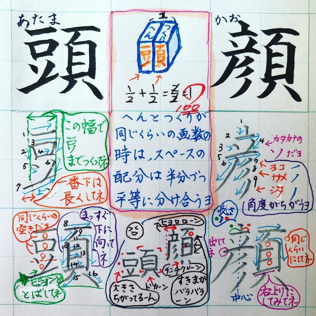 小2で習う漢字 頭 顔 つくりの 頁 おおがい 本の ページ に
