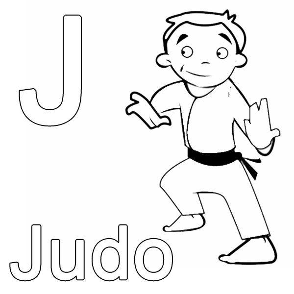 Ausmalbild Buchstaben lernen: Kostenlose Malvorlage: J wie Judo ...