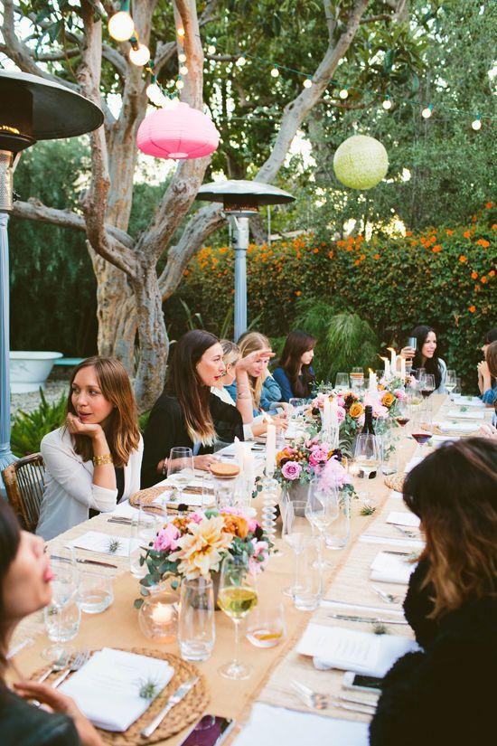 Backyard Dinner Party dark hair / light ends. backyard dinner party | designlovefest