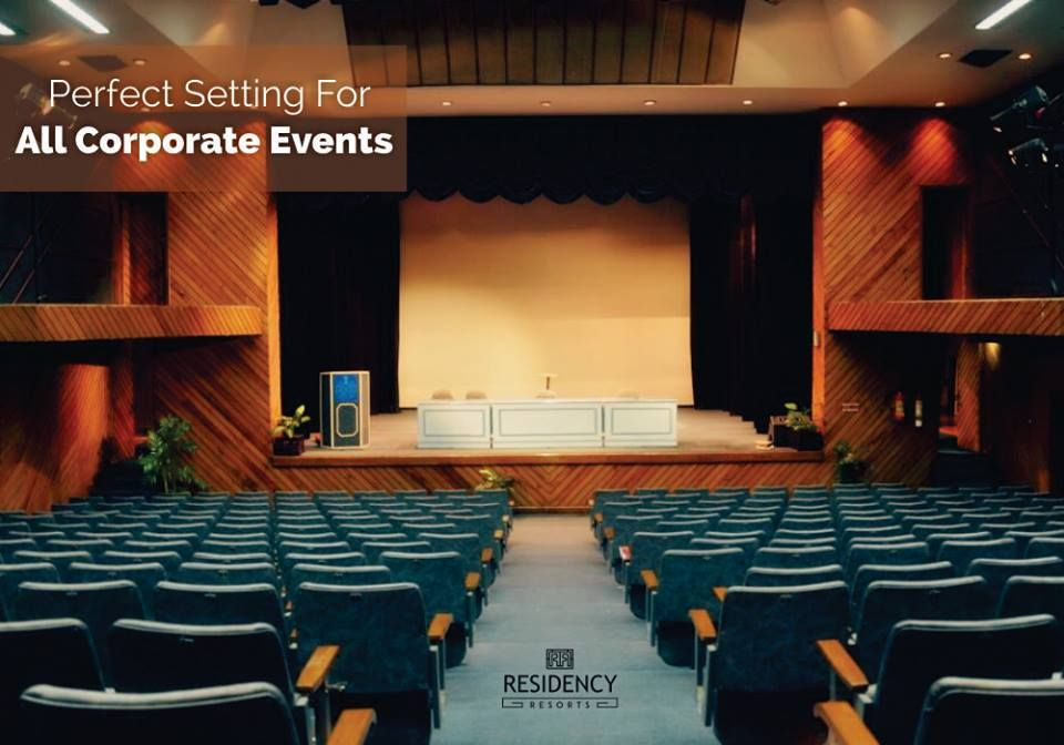 Residency Resorts Auditorium Is Centrally Air Conditioned With A Capacity Of 300 Pax Is A Perfect Setting Auditorium Design Corporate Events Modern Lighting