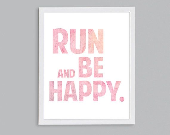 Run and Be Happy White Typographic by StephLawsonDesign on Etsy