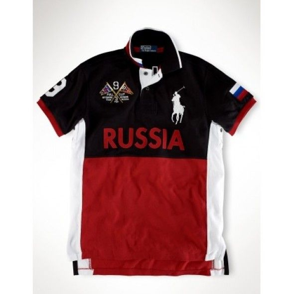 Ralph Lauren Big Pony RUSSIA Signature Red Black Sporty Polo http   www. 2e2358f7ee3d