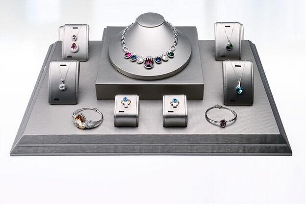 3c2eedbc055 luxo pu couro de exibição de jóias de madeira vitrine de jóias conjunto  balcão expositores para loja de jóias e jóias da mostra