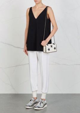 Falabella off white star-appliquéd shoulder bag