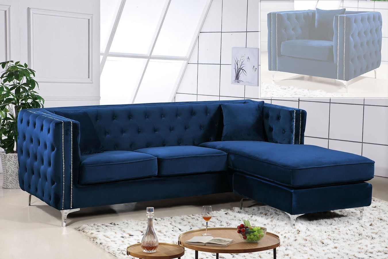Jesse Reversible Sectional Navy Furniture Sectional Sofa Meridian Furniture