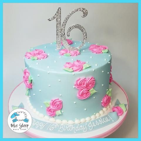 Surprising Ribbon Flower Buttercream Birthday Cake Buttercream Birthday Funny Birthday Cards Online Elaedamsfinfo