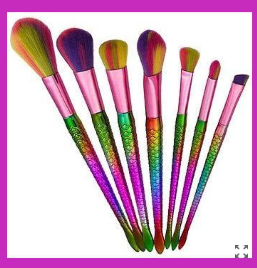 Rose Gold Rainbow Ombré Unicorn Makeup Brush Set 10Brush