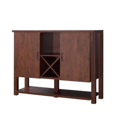 Furniture Of America Bosley 4 Bottle Vintage Walnut Wine Cabinet