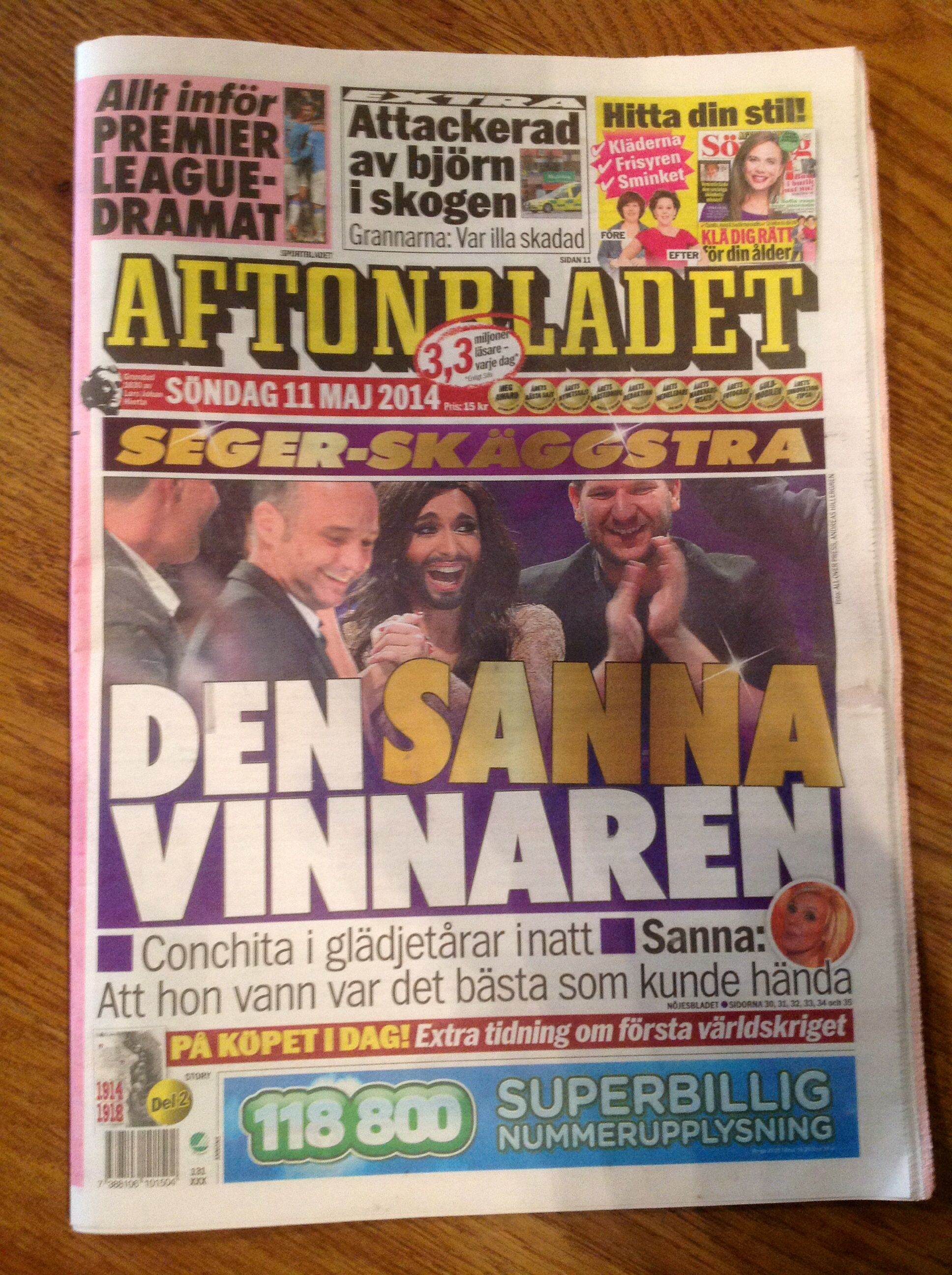 And the winner is... :) The front page of Aftonbladet, Sweden. janholmberg.weebly.com