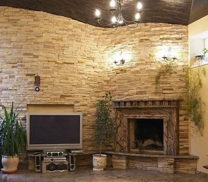 Extra High Ceiling Corner Stone Fireplaces Lights Tv