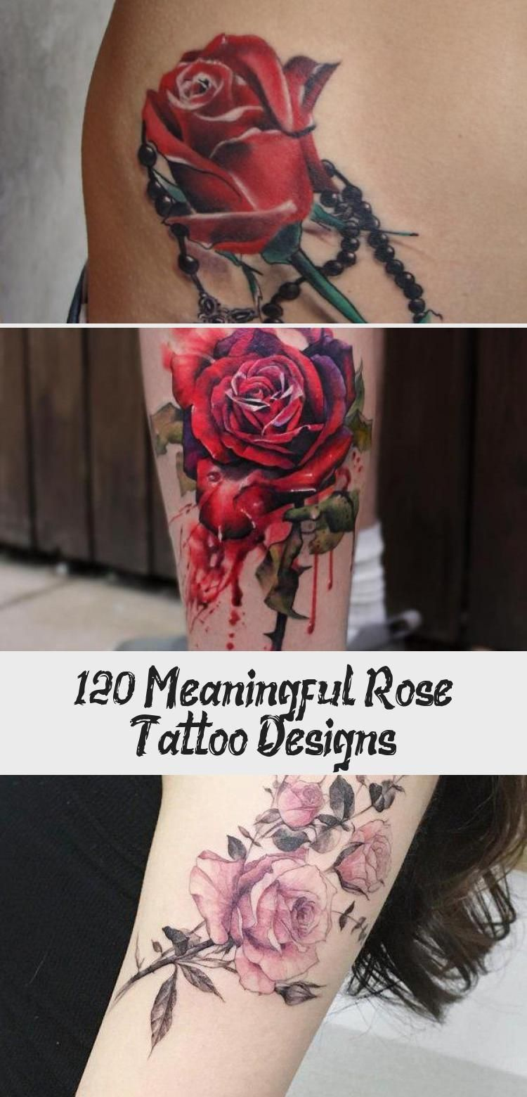 Illustration style rose with watch tattoo  – 120+ Meaningful Rose Tattoo Designs…,  #Design…
