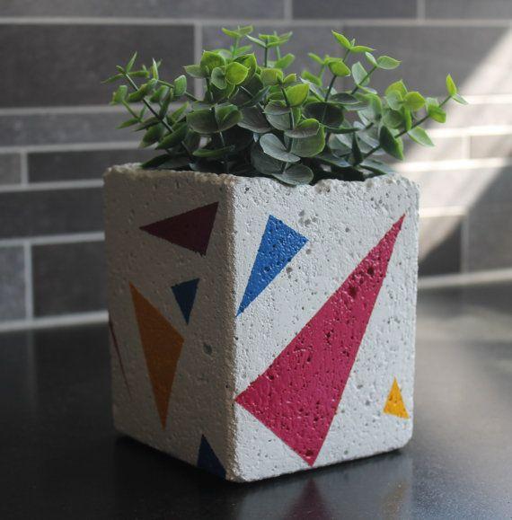 Concrete Planter Multi Color by nimwitstudio on Etsy, €18.17