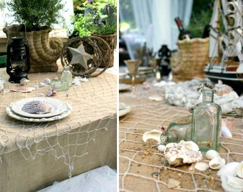 Coastal Nautical Table Decor With Decorative Fish Net: Http://www.completely