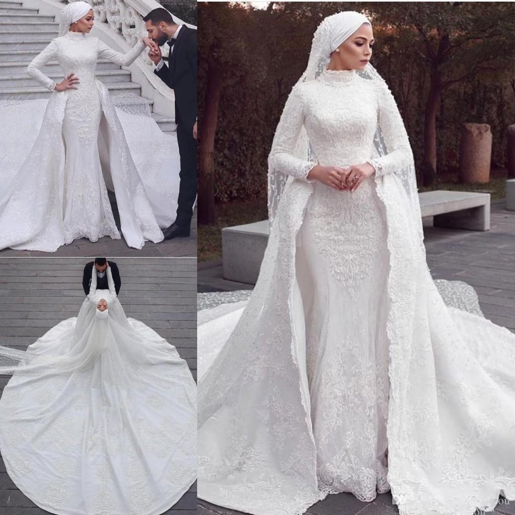 Luxury Muslim Wedding Dresses With Detachable Train High Neck Appliqued Vintage Wedding Dress Custom Made Long Sleeve Country Bridal Gowns From Sweety Wedding Muslim Wedding Gown High Neck Long Sleeve Wedding [ 1024 x 1024 Pixel ]