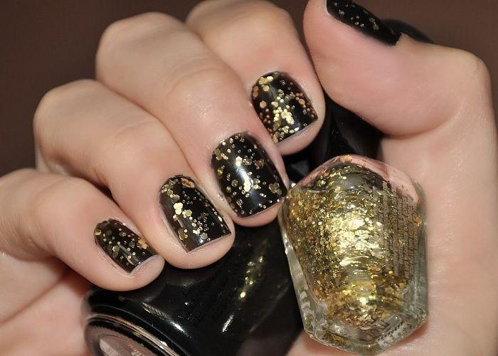 Black And Gold Nail Art Design With Glitter Polish Nails