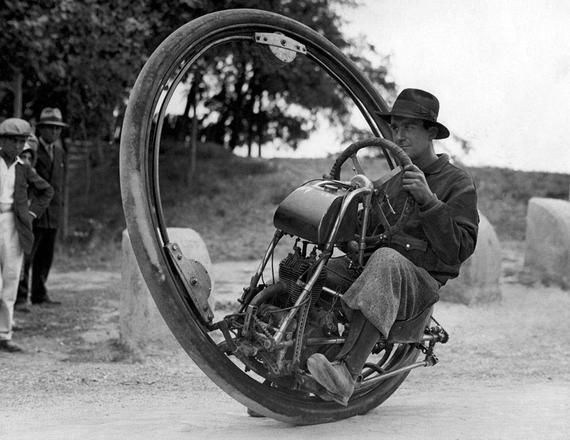 1931 One Wheel Motorcycle Vintage Photograph 8.5