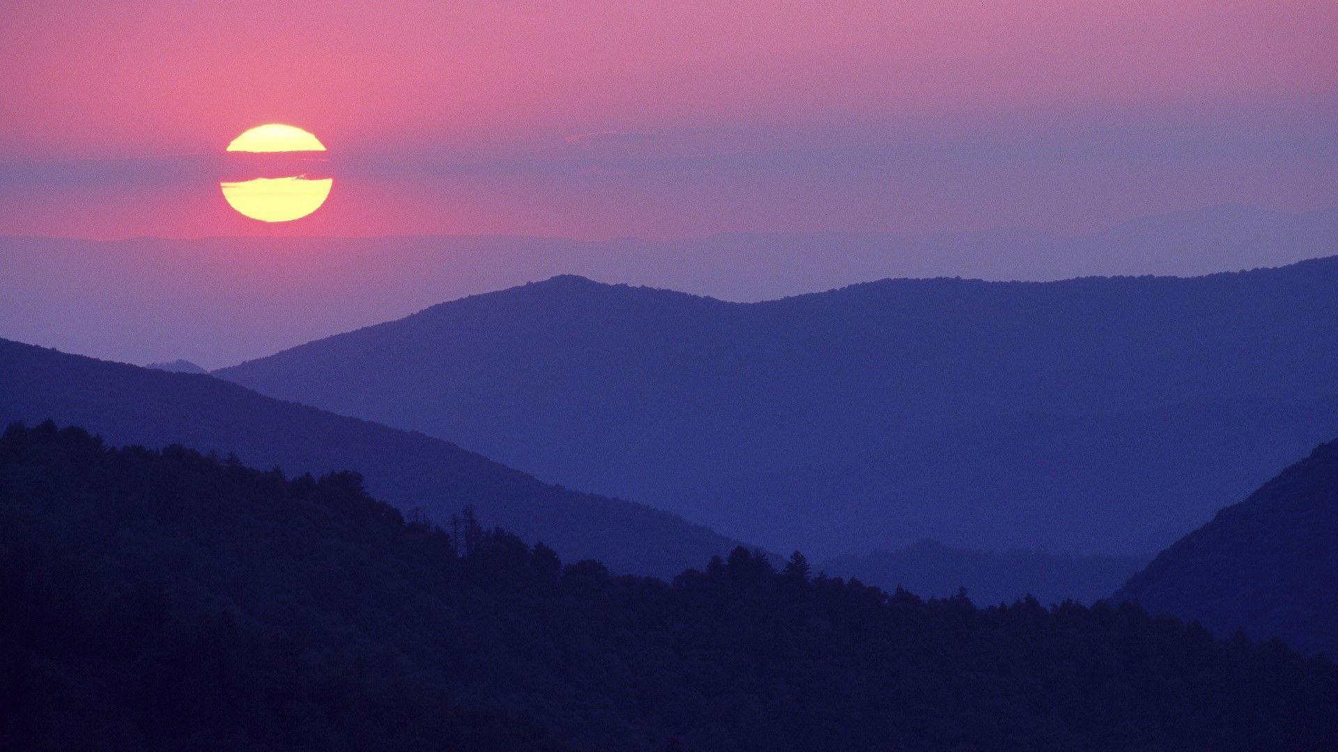 Solar Sunset Mountains Hd Landscape Mountain Sunset Landscape