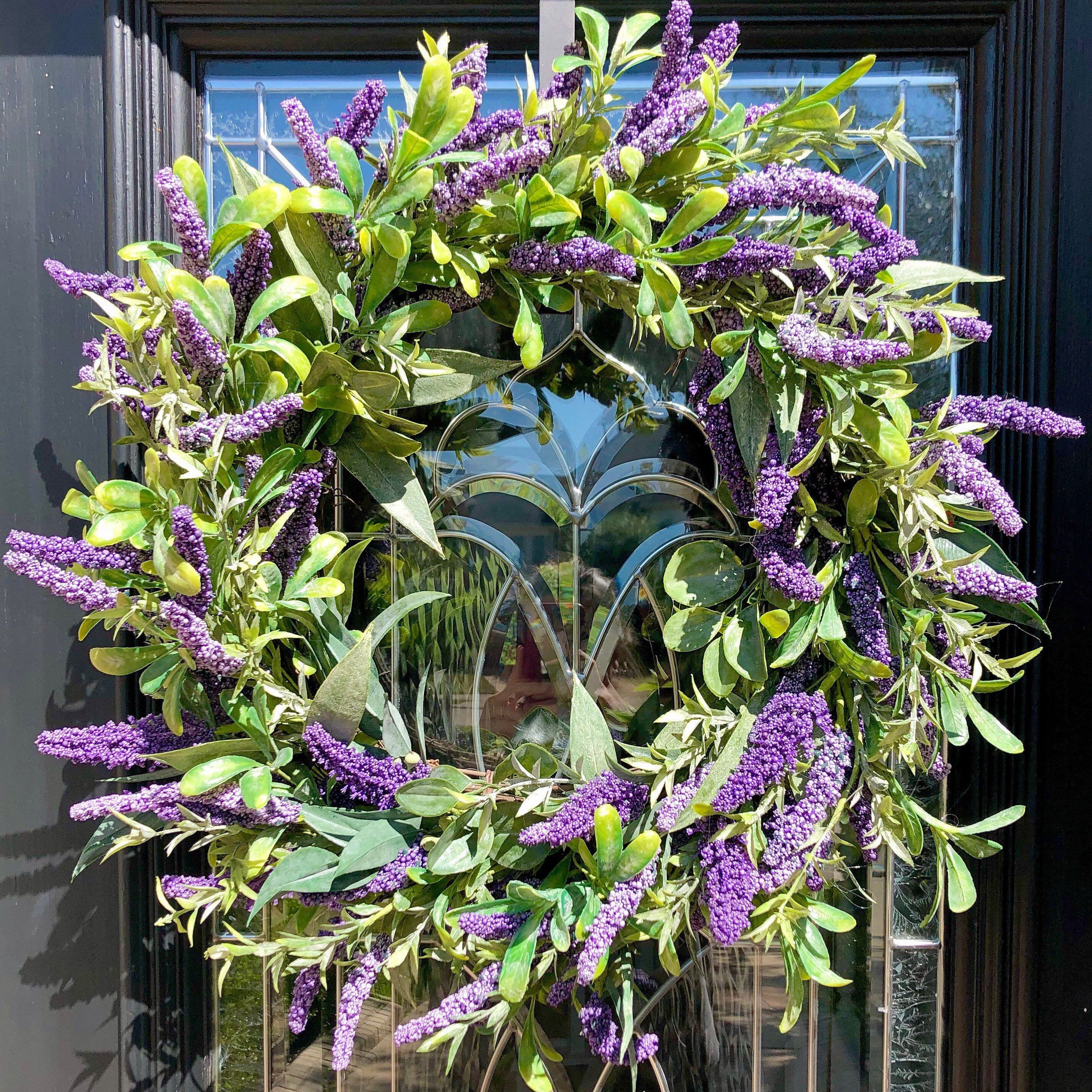 Photo of Lavender Farmhouse Wreath, Lavender and eucalyptus wreath, Farmhouse wreath, Spring wreath