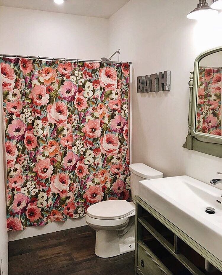 Cool Unique Floral Shower Curtain Ideas For Small Bathroom