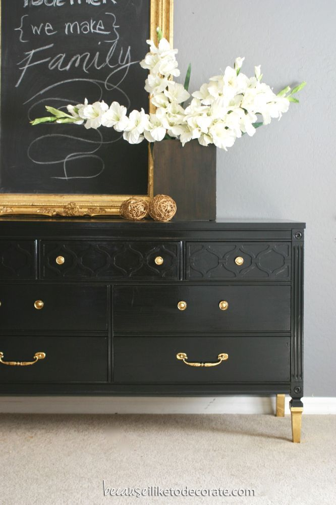 Nice Mr. Bradley   A Classic Dresser Black W/ Gold Knobs