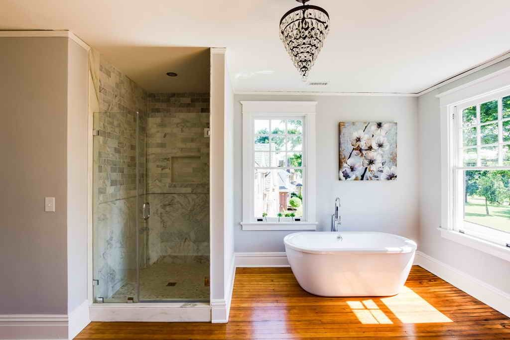 Everything You Have To Know About Bamboo Flooring Bathroom Pretty Hanging Lamp Above With Walk In Shower Near Bathtub Under