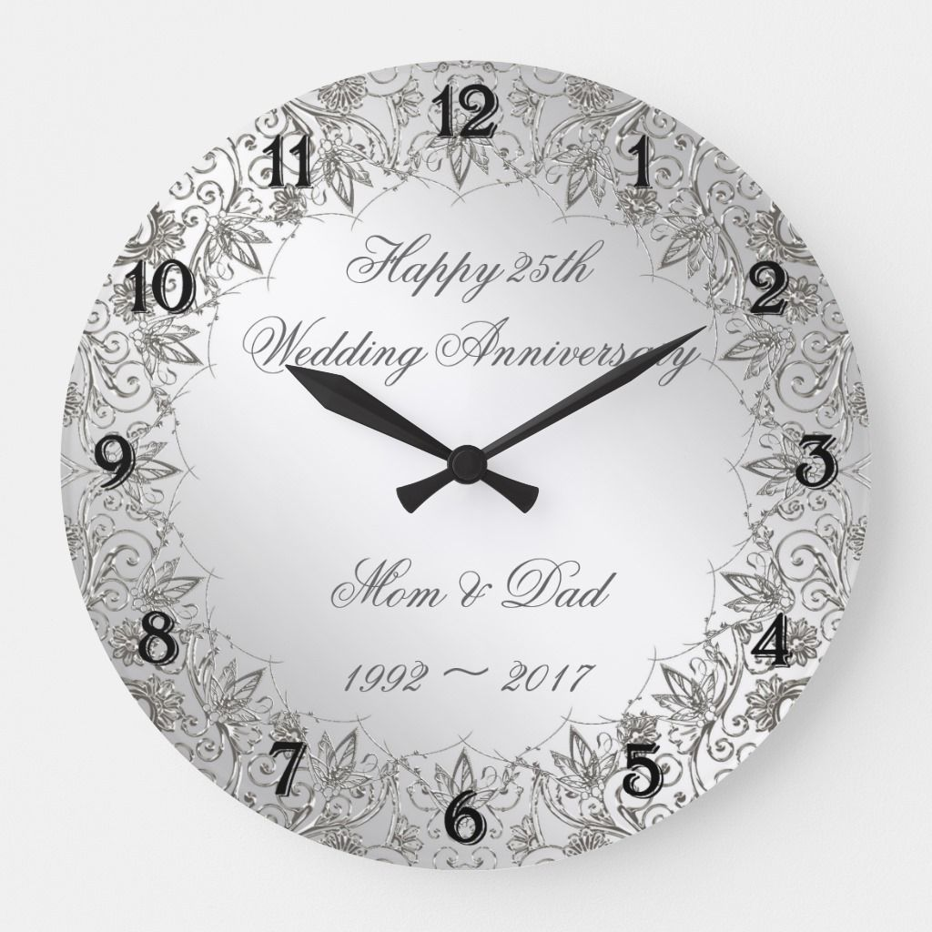 Flourish Silver 25th Wedding Anniversary Clock Zazzle Com In 2020 Anniversary Clock 25th Wedding Anniversary 25th Wedding Anniversary Silver