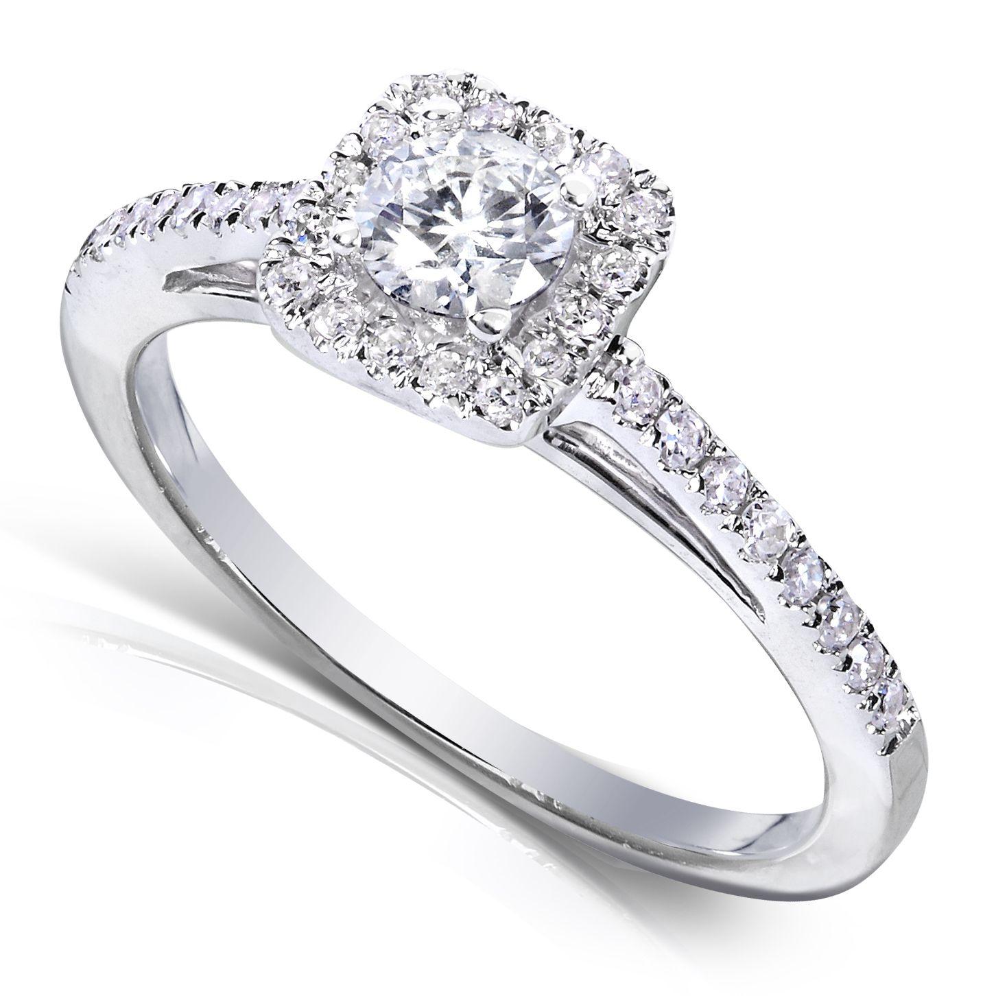 Kobelli 1 3 Carat Ct Tw Diamond Halo Engagement Ring In 14k White Gold Size 10 5 Round Diamond Engagement Rings Halo Diamond Engagement Ring Halo Diamond