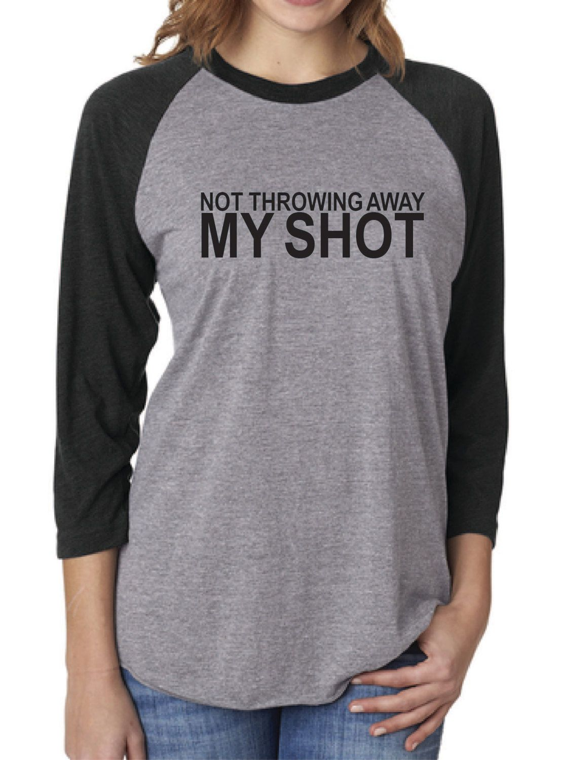 not throwing away my shot screen printed raglan baseball t shirt adult unisex by halloween shirtfunny halloweenwomen - Halloween Shirts For Ladies