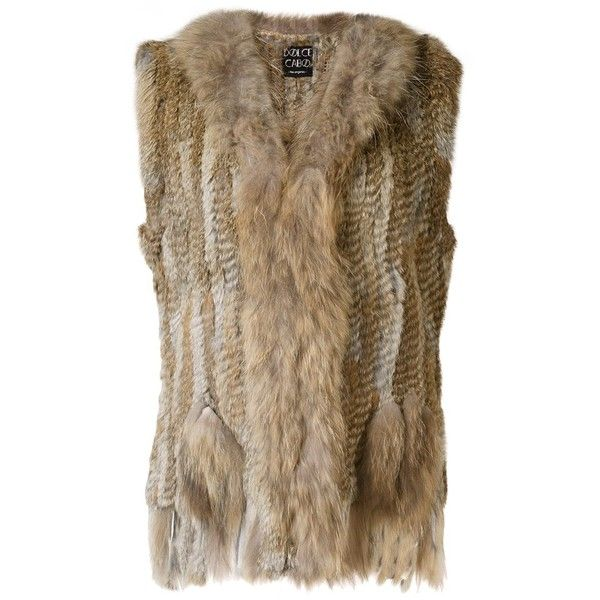 Dolce Cabo fur waistcoat ($165) ❤ liked on Polyvore featuring outerwear, vests, brown, fur vests, brown waistcoat, dolce cabo, waistcoat vest and brown fur vest