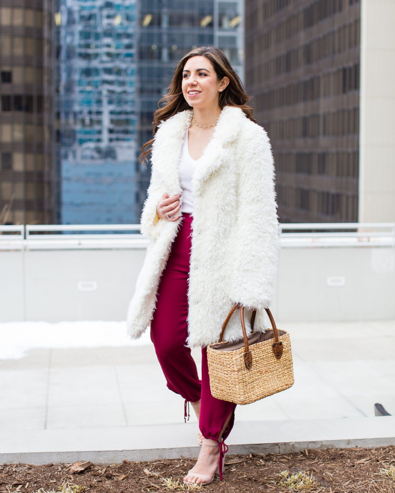 ad1abd2d9ec Lifestyle blogger Roxanne of Glass of Glam wearing a shaggy coat