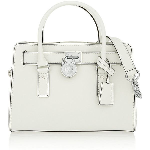 MICHAEL Michael Kors Leather tote (980 SAR) ❤ liked on Polyvore featuring bags, handbags, tote bags, white, tote handbags, leather tote, white leather tote, genuine leather handbags and leather handbags