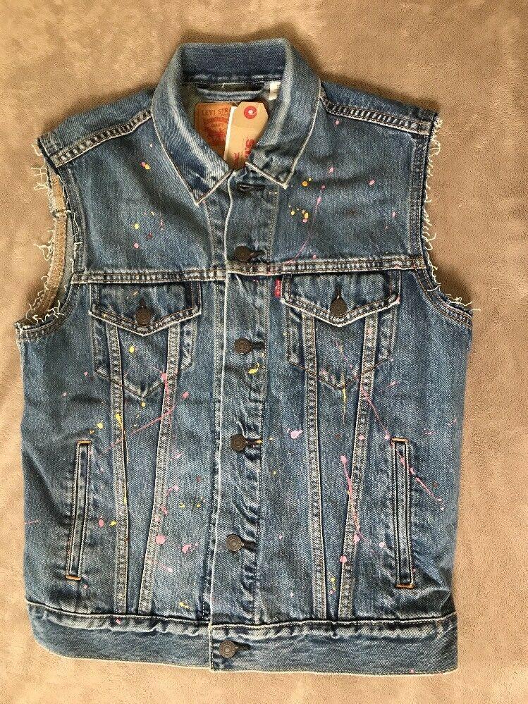 Levis Mens Trucker Vest Paint Splattered Denim NEW #Levis ...