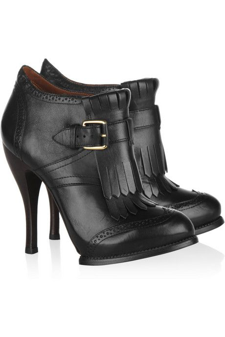 McQ Alexander McQueen Fringed leather ankle boots - Cant explain why I love  these.