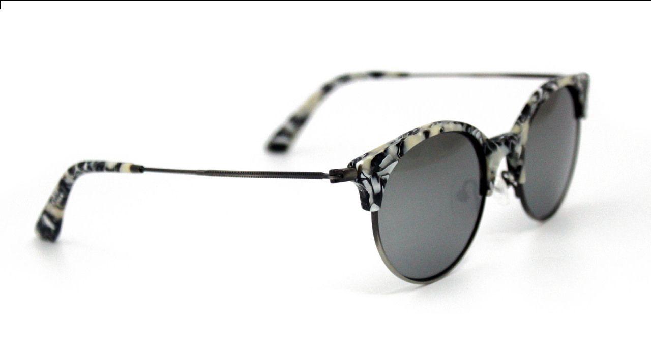 White Black Semi-rimless Frame with Silver Mirror Lens | Semi ...