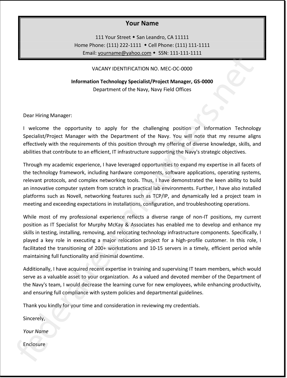 Federal Cover Letter Sample http//www