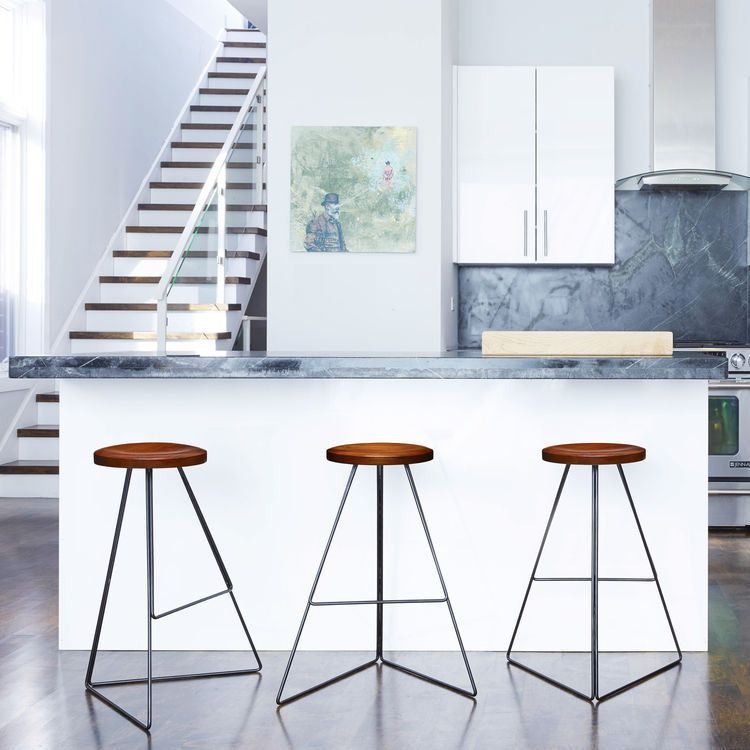 Outstanding Geometric Barstool With Walnut Wood Seat Chairs Bar Customarchery Wood Chair Design Ideas Customarcherynet