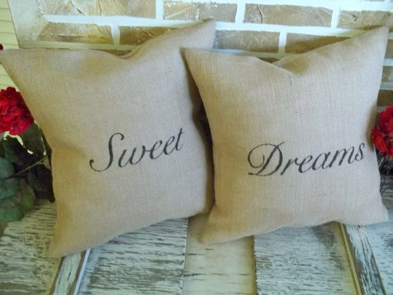 Sweet Dreams  Burlap Pillows by SimplyFrenchMarket on Etsy, $46.00